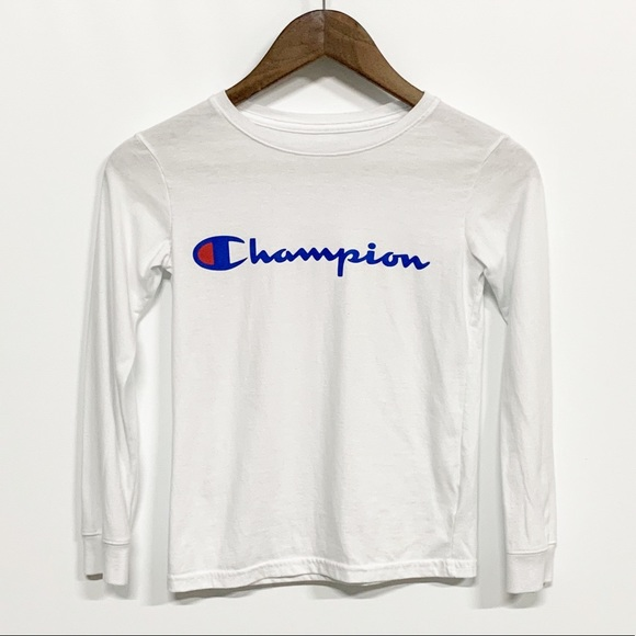 Champion Other - Champion | White Long Sleeve Spellout Graphic Tee